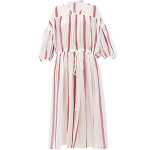 Monaco striped cotton-voile dress